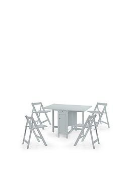 Save £25 at Very on Julian Bowen Savoy 120 Cm Space Saver Dining Table + 4 Chairs - Grey