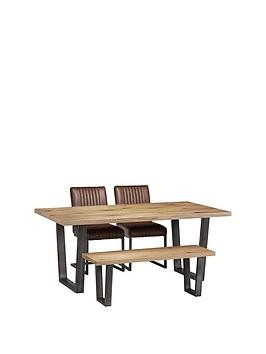 Save £95 at Very on Julian Bowen Brooklyn 180 Cm Metal And Solid Oak Dining Table + 2 Chairs + Bench