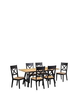 Save £215 at Very on Julian Bowen Hockley 190 Cm Solid Wood Dining Table + 6 Chairs