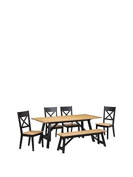 Save £65 at Very on Julian Bowen Hockley 190 Cm Dining Table + 1 Bench + 4 Chairs