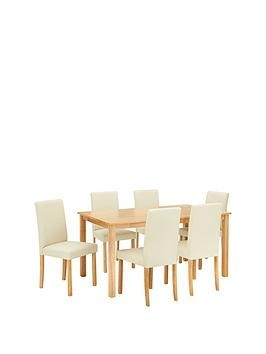 Save £40 at Very on Home Essentials - Primo 150 Cm Dining Table + 6 Faux Leather Chairs