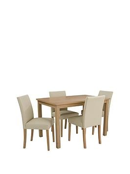 Save £40 at Very on Home Essentials - Primo 120 Cm Dining Table + 4 Faux Leather Chairs