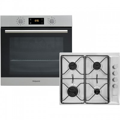 Save £50 at AO on Hotpoint K002969 Built In Electric Single Oven and Gas Hob Pack - Stainless Steel - A+ Rated