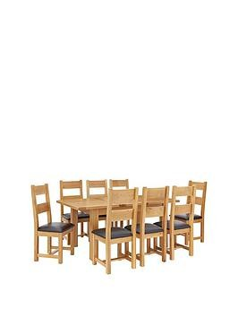 Save £140 at Very on Oakland 140 - 180 Cm Solid Wood Extending Dining Table + 8 Oakland Chairs