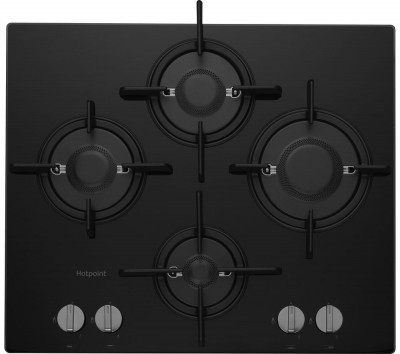 Save £100 at Currys on HOTPOINT FTGHG 641 D/H(BK) Direct Flame Gas Hob - Black, Black