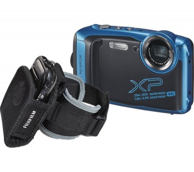 Save £30 at Currys on FUJIFILM FinePix XP140 Tough Compact Camera with Action Jacket & Arm Sleeve - Sky Blue, Blue