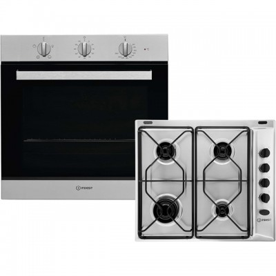 Save £40 at AO on Indesit Aria K002978 Built In Electric Single Oven and Gas Hob Pack - Stainless Steel - A Rated