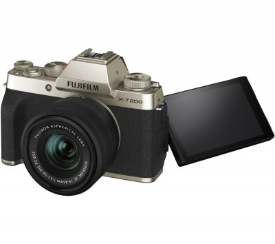 Save £200 at Currys on FUJIFILM X-T200 Mirrorless Camera with FUJINON XC 15-45 mm f/3.5-5.6 OIS PZ Lens - Champagne Gold, Gold