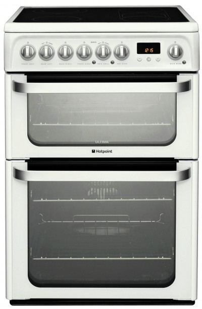 Save £80 at Argos on Hotpoint HUE62P 60cm Double Oven Electric Cooker - White