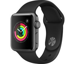 Save £80 at Currys on APPLE Watch Series 3 - Space Grey & Black Sports Band, 38 mm