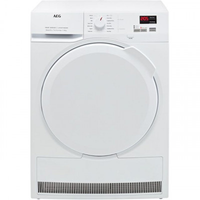 Save £117 at AO on AEG SensiDry Technology T7DBK840N 8Kg Heat Pump Tumble Dryer - White - A++ Rated
