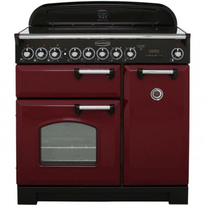 Save £371 at AO on Rangemaster Classic Deluxe CDL90ECCY/C 90cm Electric Range Cooker with Ceramic Hob - Cranberry / Chrome - A/A Rated