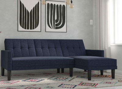 Save £80 at Dreams on Valentina 3 Seater Corner Sofa Bed - Navy BLUE
