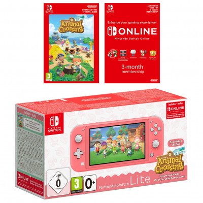 Save £30 at Argos on Nintendo Switch Lite Animal Crossing Console - Coral