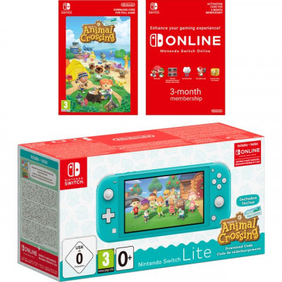 Save £26 at AO on Nintendo Switch Lite with Animal Crossing Horizons (Digital Download) and 3 Months Nintendo Switch Online - Turquoise