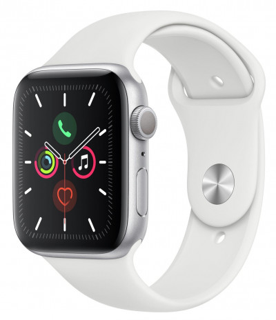 Save £100 at Argos on Apple Watch S5 GPS 44mm Silver Alu/White Band