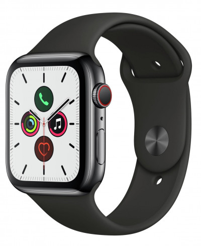 Save £150 at Argos on Apple Watch S5 Cellular 44mm Black S Steel / Black Band