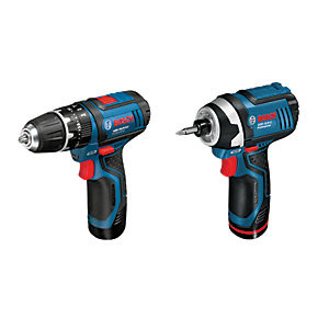Save £40 at Wickes on Bosch Professional GSB 12V-15 + GDR 12V-105 Cordless Combi Drill and Impact Driver Twin Pack