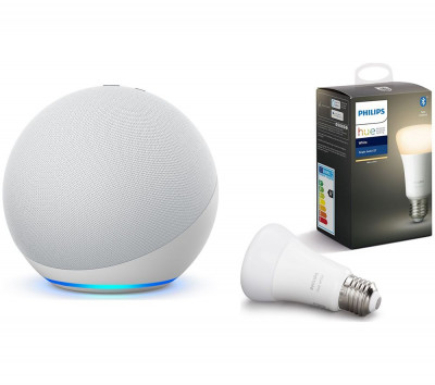 Save £15 at Currys on PHILIPS Echo (4th Gen) & E27 White Bluetooth LED Bulb Bundle - Glacier White, White