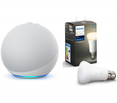 Save £15 at Currys on PHILIPS Echo (4th Gen) & B22 Hue White Bluetooth LED Bulb Bundle - Glacier White, White
