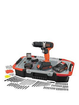 Save £15 at Very on Black & Decker 18V Lithium Ion Cordless Drill Drive With 2 Batteries  165 Accessories With Kitbox
