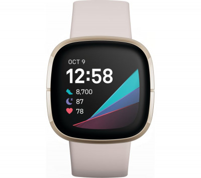 Save £40 at Currys on FITBIT Sense - Lunar White & Soft Gold, White