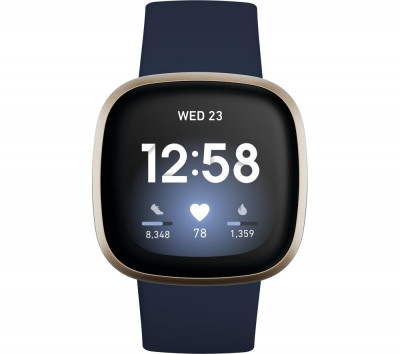 Save £30 at Currys on FITBIT Versa 3 - Midnight & Soft Gold, Gold