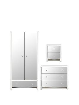 Save £50 at Very on Alexis 3 Piece Kids Mirror Effect Bedroom Package - 2 Door Wardrobe, 3 Drawer Chest And Bedside Table
