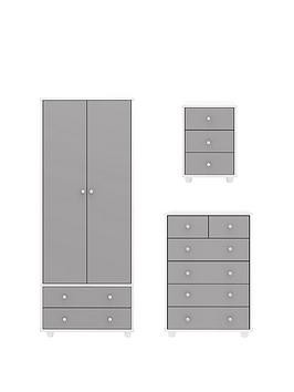 Save £90 at Very on Miami Fresh Kids 3 Piece Package - 2 Door, 2 Drawer Wardrobe, 5 Drawer Chest, 3 Drawer Bedside Chest - Grey