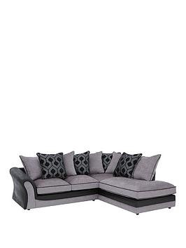 Save £295 at Very on Milan Faux Leather And Fabric Right Hand Corner Chaise Scatter Back Sofa