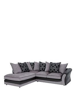 Save £295 at Very on Milan Faux Leather And Fabric Left Hand Corner Chaise Scatter Back Sofa