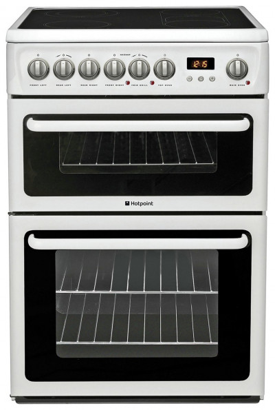 Save £90 at Argos on Hotpoint HAE60P 60cm Double Oven Electric Cooker - White
