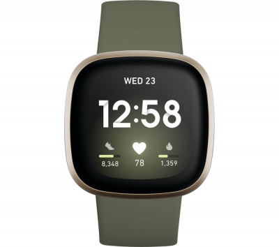 Save £30 at Currys on FITBIT Versa 3 - Soft Gold & Olive, Gold