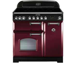 Save £279 at AO on Rangemaster Classic Deluxe CDL90EICY/C 90cm Electric Range Cooker with Induction Hob - Cranberry / Chrome - A/A Rated