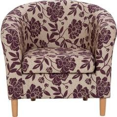 Save £44 at Argos on Argos Home Floral Fabric Tub Chair - Cranberry