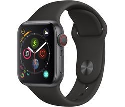Save £100 at Currys on APPLE Watch Series 4 Cellular - Space Grey & Black Sports Band, 40 mm