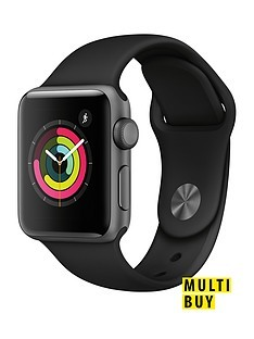 Save £10 at Very on Apple Watch Series 3 (2018 GPS), 38mm Space Grey Aluminium Case with Black Sport Band