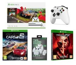 Save £50 at Currys on MICROSOFT Xbox One S, Forza Horizon 4, LEGO Speed Champions, Tekken 7, Project Cars 2, Wireless Controller & Docking Station Bundle