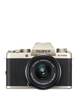 Save £266 at Very on Fujifilm Fujifilm X-T100 Champagne Gold With Black Xc15-45Mm Lens