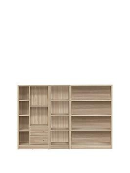 Save £13 at Very on Metro 3 Piece Storage Bookcase Package - Oak Effect