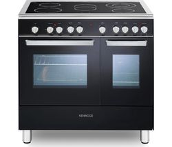 Save £150 at Currys on KENWOOD CK418 90 cm Electric Ceramic Range Cooker - Black & Chrome