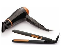 Save £3 at Currys on REMINGTON D3012GP Hair Dryer & Hair Straightener Set - Black & Bronze