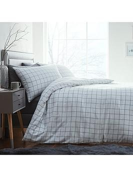 Save £8 at Very on Silentnight Contemporary Check Brushed Cotton Duvet Cover Set - White