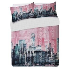 Save £6 at Argos on Argos Home Pink New York Skyline Bedding Set - Double