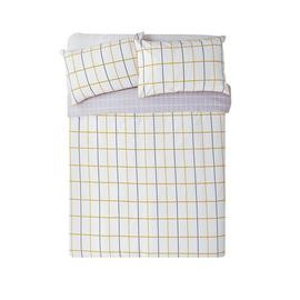 Save £13 at Argos on Argos Home Mustard & Grey Checked Bedding Set - Kingsize