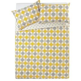 Save £6 at Argos on Argos Home Mustard and Grey Circles Bedding Set - Kingsize
