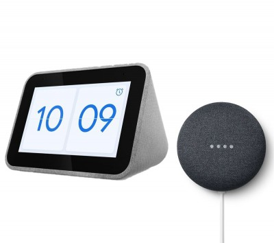 Save £30 at Currys on LENOVO Smart Clock with Google Assistant & Charcoal Google Nest Mini (2nd Gen) Bundle, Charcoal