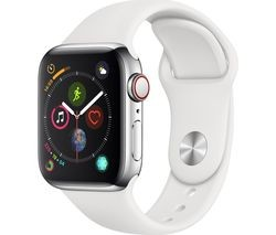 Save £130 at Currys on APPLE Watch Series 4 Cellular - Silver & White Sports Band, 40 mm