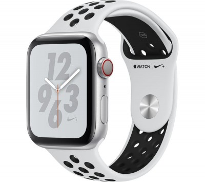 Save £60 at Currys on APPLE Watch Series 4 Cellular - Silver with Pure Platinum and Black Nike Sports Band, 44 mm, Silver