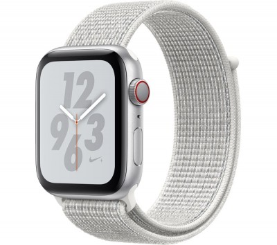 Save £60 at Currys on APPLE Watch Series 4 Cellular - Silver with Summit White Nike Sport Band, 44 mm, Silver